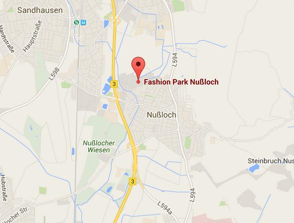 aanfahrt fashionpark Nussloch